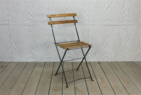Metal Folding Bistro Chairs Vintage Bistro Chair Folding Wood Metal Side Rustic