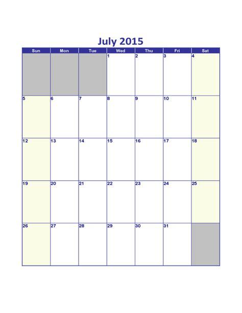Calendar For July 2015 July 2015 Calendar Sle Free