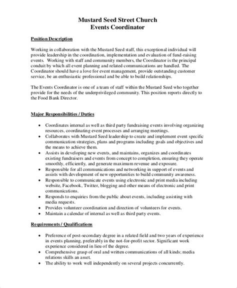 sle event coordinator job description 10 exles in pdf
