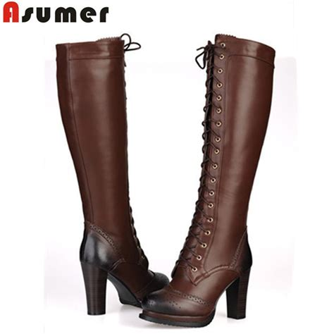 leather boots high heels buy asumer 2016 new winter lace up pu