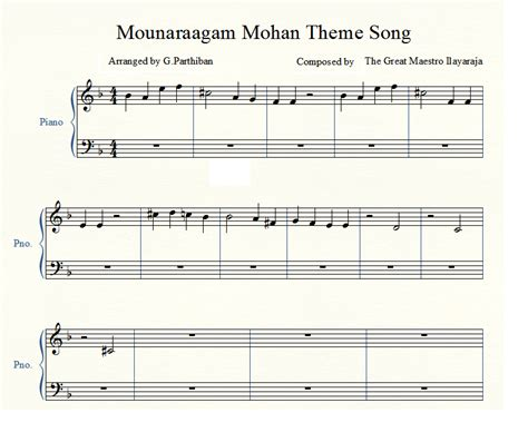 theme songs piano piano notes for tamil songs mouna raagam mohan theme