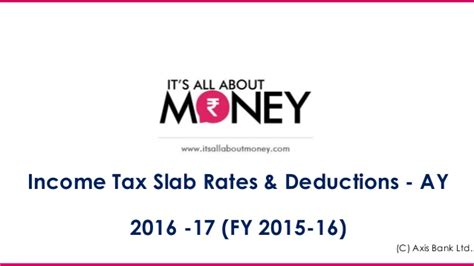 mat rate in india ay 2015 16 income tax slab rates deductions ay 2016 17 fy 2015 16