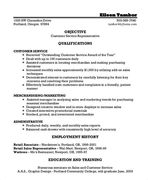 Resume Templates For Customer Service Representatives by Customer Service Representative Resume 9 Free Sle