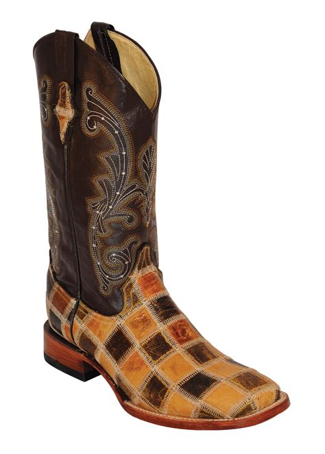 Mens Patchwork Boots - mens ferrini brown antique saddle patchwork leather