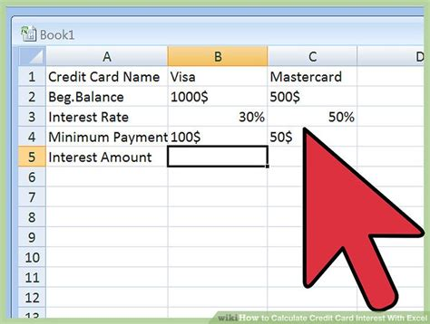 credit card interest calculator excel template 3 ways to calculate credit card interest with excel wikihow