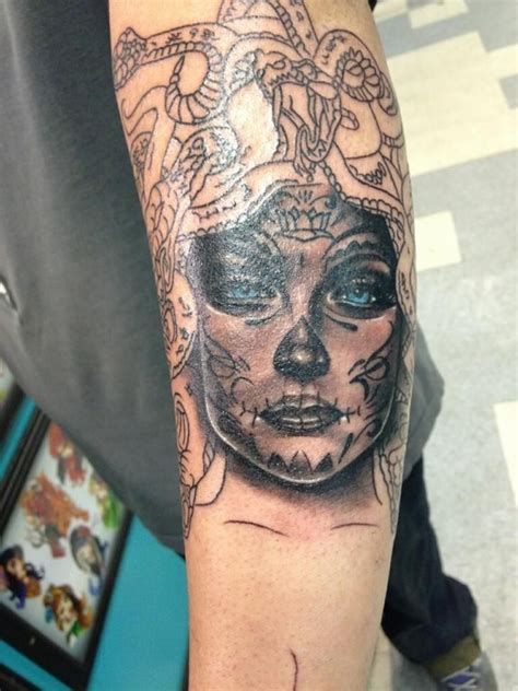 day of the dead medusa tattoo 1st session tattoos