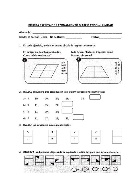 preguntas de matematicas para quinto grado ejemplos de examen de quinto grado de primaria