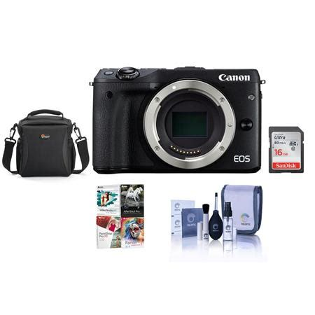 canon eos m3 mirrorless body and free accessories, black