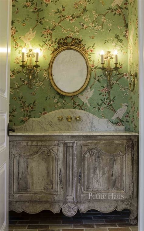 french country chinoiserie powder room petite haus