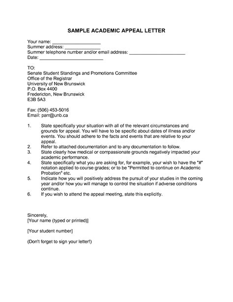 Petition Academic Probation Letter Appeal Sle Letter For Financial Aid
