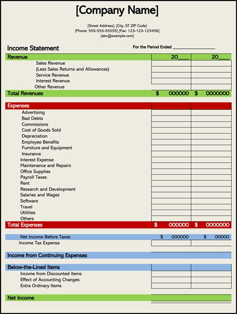 How To Prepare An Income Statement 5 Free Templates Templates For