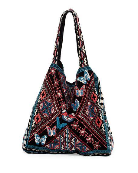 Velvet Tote Bag johnny was lorne velvet embroidered tote bag neiman