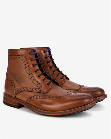 brogue boots for lyst ted baker leather wingtip brogue ankle boots in