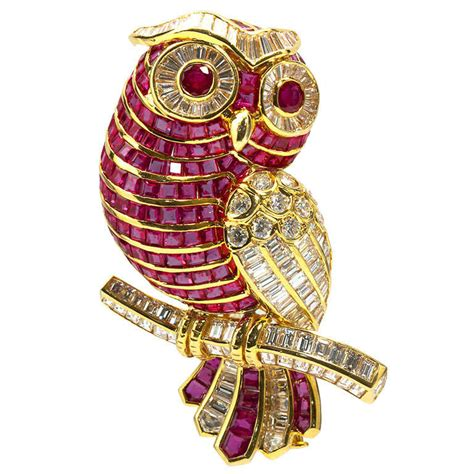 Owl Brooch And Earrings By Fluffsstuffs by Ruby Owl Brooch At 1stdibs