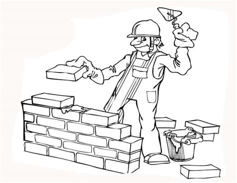 Build A Coloring Pages construction worker build a wall coloring page coloring sun