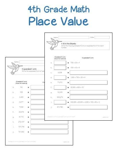 printable math worksheets place value 4th grade place value worksheets printables worksheets