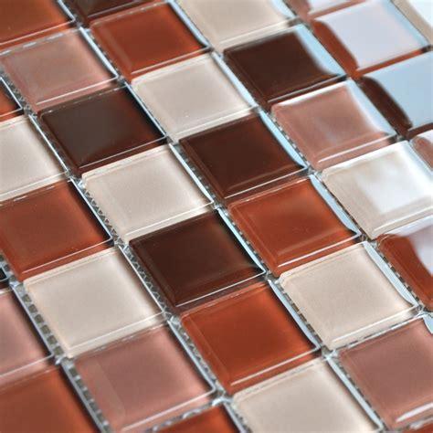 Crystal Glass Mosaic Tile Brown Kitchen Backsplash Designs