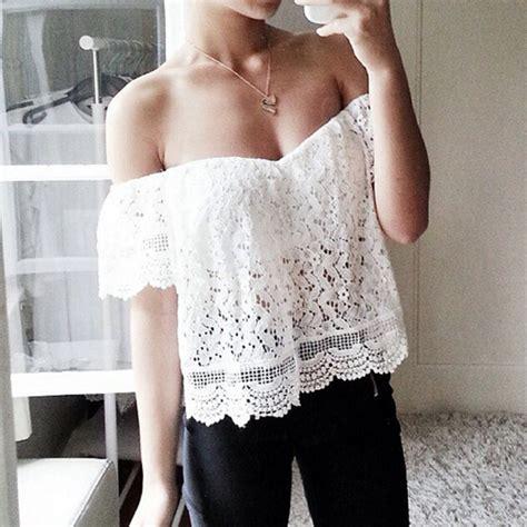 White Lace Shoulder L Xl Shirt 17471 lace blouse the shoulder shirt crop tops boho white size s xl ebay