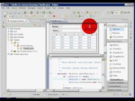 eclipse swing gui builder java eclipse swing visual editor jtable defaulttablemodel