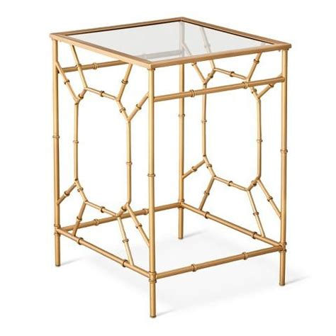 glass top accent table threshold bamboo motif gold accent table with glass top