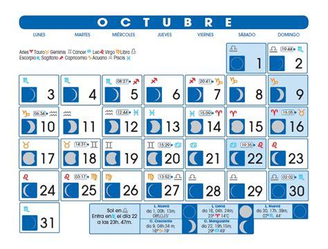 Calendario Lunar Octubre 2017 España Calendario Lunar Octubre De 2016