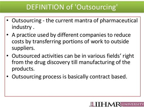 Mba Outsourcing by Outsourcing In Pharma