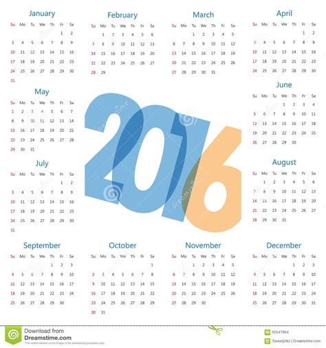 calendar template illustrator 2016 modern calendar template vector illustration stock