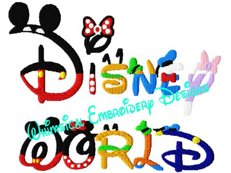 embroidery design world store disney world word machine embroidery filled design instant