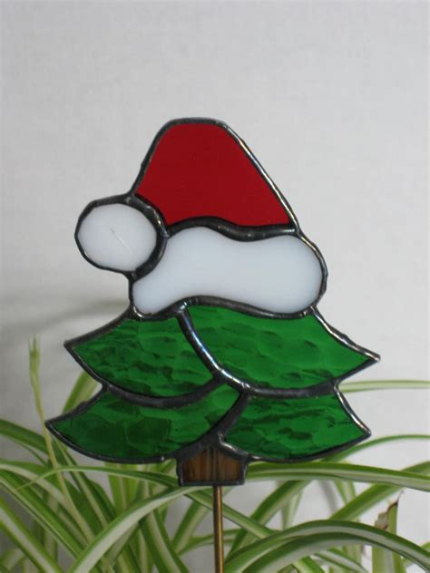 sale stained glass christmas tree plant stake silly