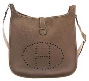 hermes hermes taupe clemence leather evelyn iii crossbody