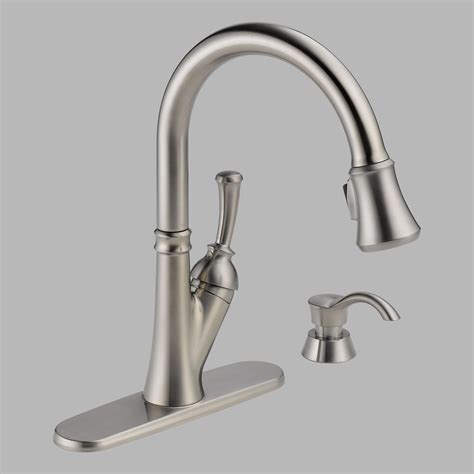 delta savile single handle pull kitchen faucet with