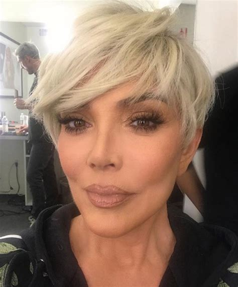 kris kardashian haircolor kris jenner shares photo of new blonde pixie haircut