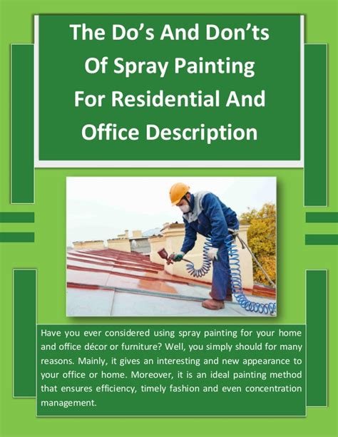 spray painter duties and responsibilities the do s and don ts of spray painting for residential and