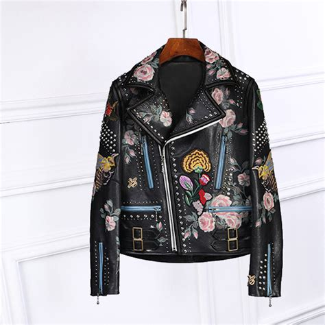 jacket design back 2017 spring autumn luxury design floral print black faux