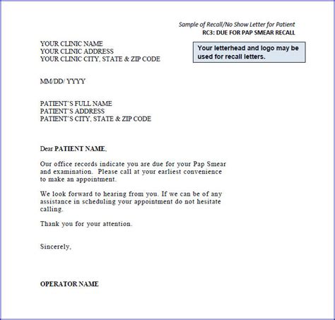 Patient Letter For Missed Appointments Sle Recall Letters