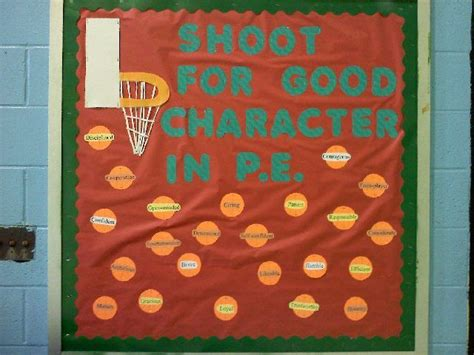 character education themes elementary shoot for good character in p e image pe bulletin board