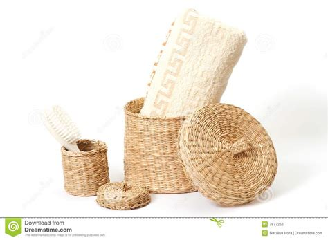 wicker bathroom accessories wicker baskets with bath accessories royalty free stock image image 7877256