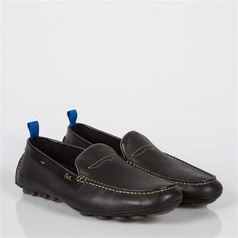 paul smith s black leather driving shoes in
