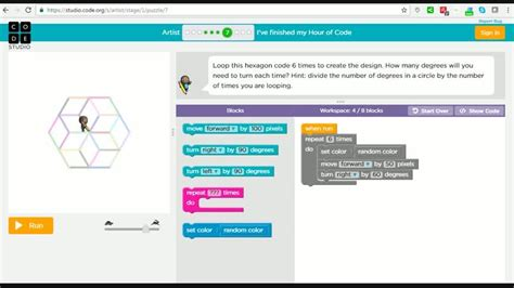 coding level 4 hour of code artist level 7