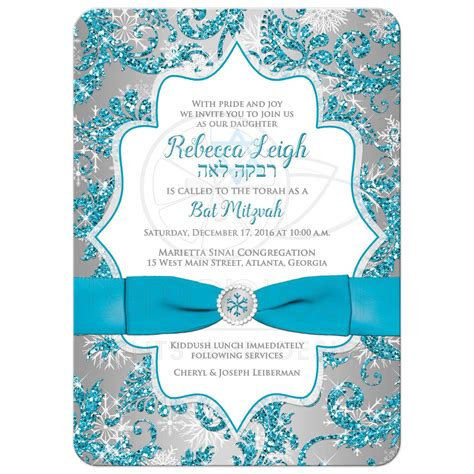 Turquoise Kitchen Decor Ideas bat mitzvah invitation winter wonderland turquoise