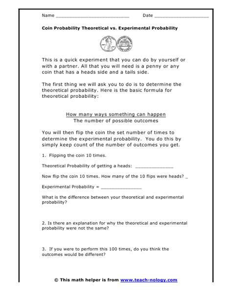 Experimental Probability Worksheet by Worksheets Theoretical Probability Worksheets