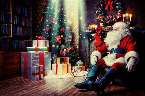 photo of santa claus and christmas tree santa claus by the tree bestwallsite