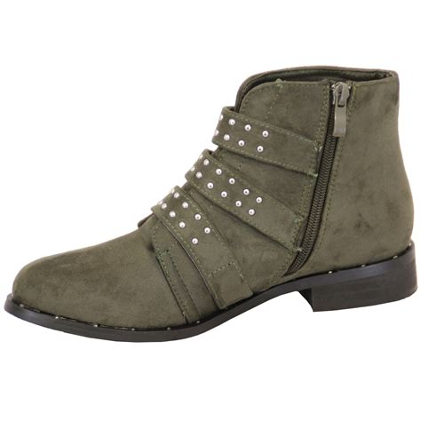 chelsea biker boots womens suede look studded high