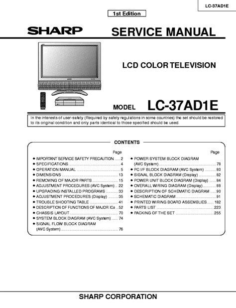 Inverter Tv Lcd Sharp Lc 22l10m Gy sharp lc 20sd4e sm service manual schematics
