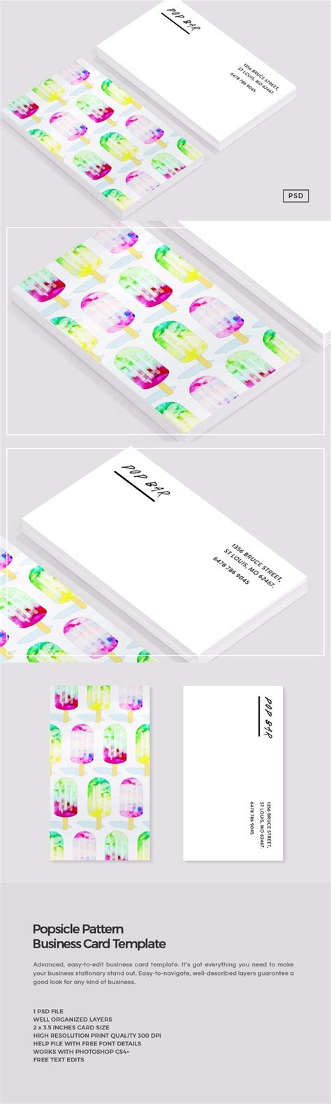 free watercolor business card template watercolor popsicle business card business card