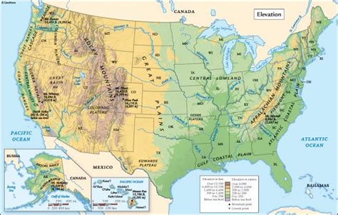 altitude map of usa united states elevation map geography maps