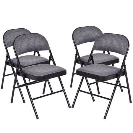 costway fabric padded folding chair set   walmartcom