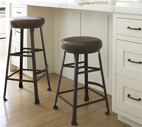 Pottery Barn Leather Stool by Decker Leather Seat Barstool Pottery Barn