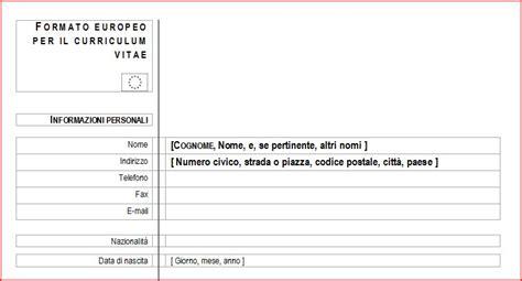 Formato Curriculum Vitae Non Europeo Modello Curriculum Vitae Curriculum Vitae E Lavoro