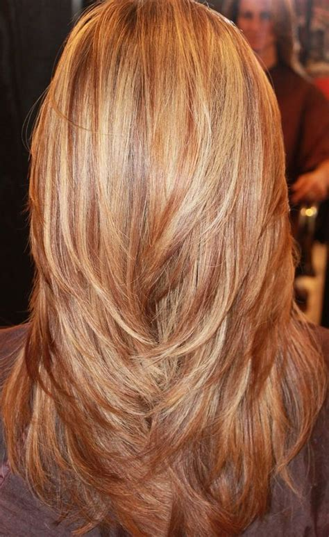 how to highlight layered hair long layers red blonde and golden highlights hair